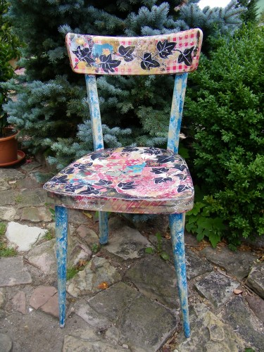 chaise,relooking,collages,peinture